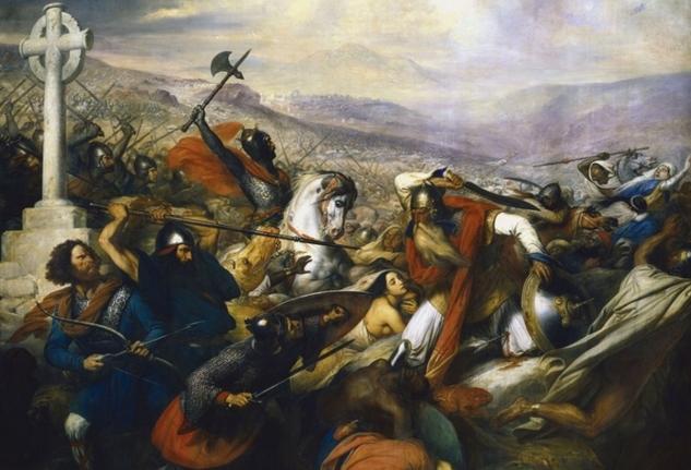 Karl Martel standser maurernes fremrykning i 732 i slaget ved Poitiers.